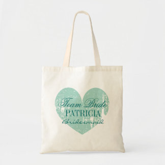 Turquoise heart team bride bridesmaid tote bags
