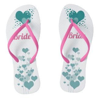 Turquoise Hearts Design Bride Shoes Flip Flops