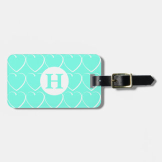Turquoise Hearts Monogrammed Luggage Tag