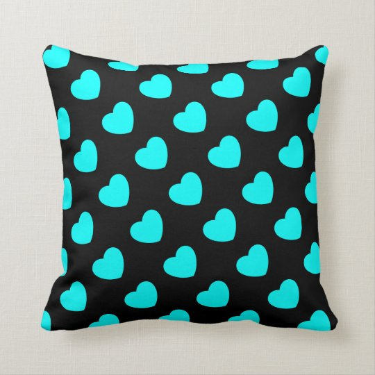 Turquoise Hearts on Black Throw Pillow