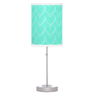 Turquoise Hearts Table Lamp