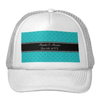 Turquoise hearts wedding favors trucker hat