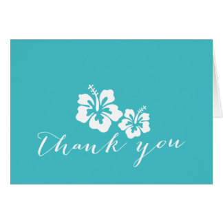 Turquoise Hibiscus Floral Thank You Card