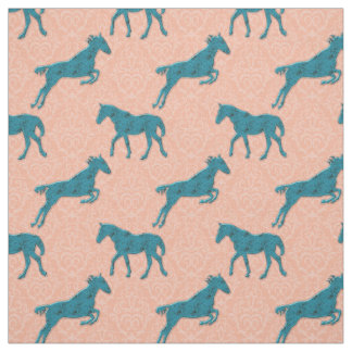Turquoise Horses On Peach Damask Fabric