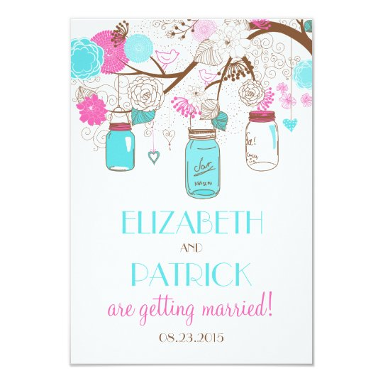 Turquoise & Hot Pink Mason Jars Wedding RSVP Card