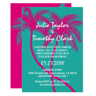 Turquoise  Hot Pink Palm Tree Wedding Invitations