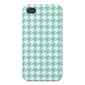 Turquoise Houndstooth Cover For iPhone 4