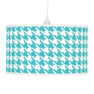 Turquoise Houndstooth Pattern Modern Pendent Lamp