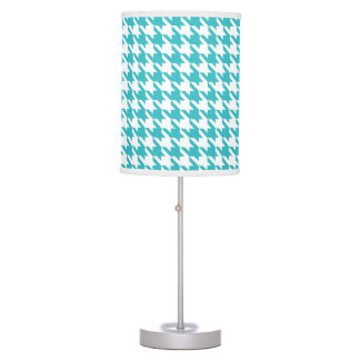 Turquoise Houndstooth Pattern Modern Table Lamp