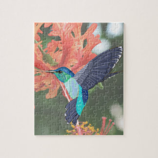 Turquoise Hummingbird and orange Hibiscus Jigsaw Puzzle