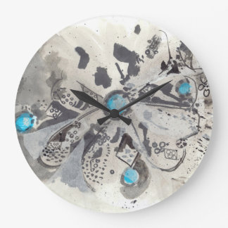TURQUOISE I - Ink Abstract Art Clock with Blue