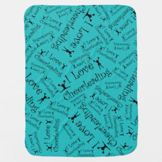 Turquoise I love cheerleading Swaddle Blankets