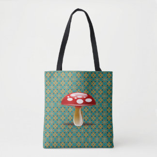 Turquoise Kaleidoscope and Red Mushroom Tote Bag