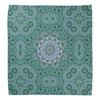 Turquoise Kaleidoscopic Mosaic Reflections Design Bandannas