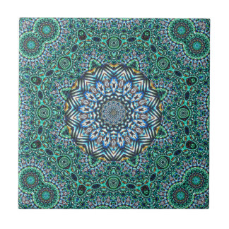 Turquoise Kaleidoscopic Mosaic Reflections Design Tiles