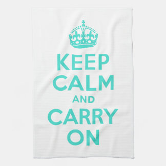 Turquoise Keep Calm and Carry On American MoJo Kit Kitchen Towel
