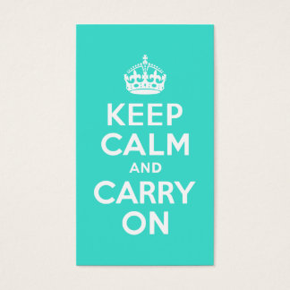 Turquoise Keep Calm and Carry On Business Card