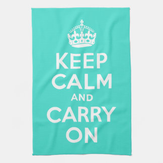 Turquoise Keep Calm and Carry On Kitchen Towel