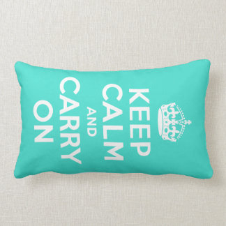 Turquoise Keep Calm and Carry On Lumbar Pillow