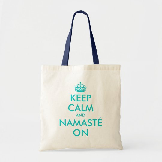 Turquoise Keep Calm and Namasté on tote bag