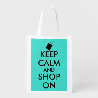 Turquoise Keep Calm and Shop On Shopping Bag