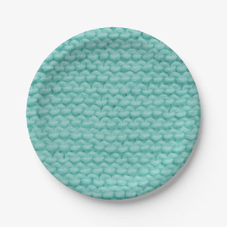 Turquoise Knit Paper Plates