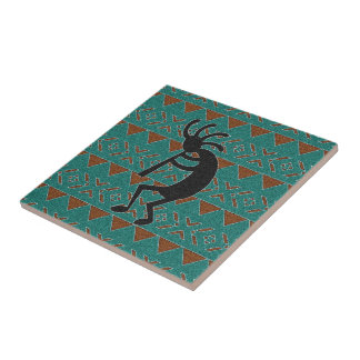 Turquoise Kokopelli Southwest  Ceramic Tile
