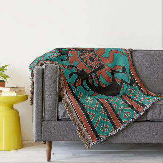 Turquoise Kokopelli Tribal Southwest Design Throw Blanket