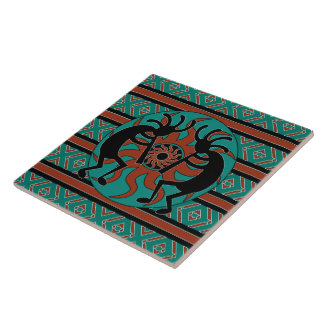 Turquoise Kokopelli Tribal Sun Southwest Tile