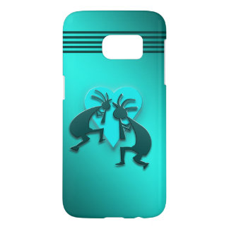 Turquoise Kokopellis with Heart Samsung Galaxy S7 Case