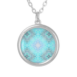 Turquoise Lace Mandala Silver Plated Necklace