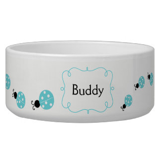 Turquoise Ladybugs Custom Pet Bowl