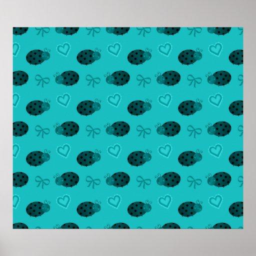 Turquoise ladybugs hearts bows pattern print
