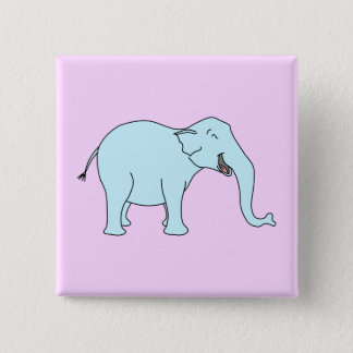 Turquoise Laughing Elephant. 2 Inch Square Button