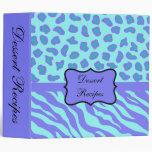Turquoise & Lavender Zebra & Cheetah Customized Vinyl Binder
