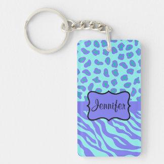 Turquoise & Lavender Zebra & Cheetah Customized Double-Sided Rectangular Acrylic Keychain