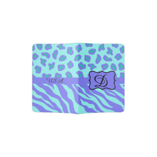 Turquoise Lavender Zebra Leopard Skin Monogram Passport Holder