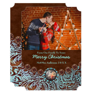 Turquoise Leather Country Western Christmas Photo Card