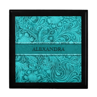 Turquoise Leather Look Embossed Flowers-Monogram Gift Box