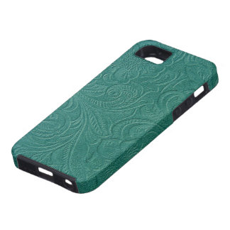 Turquoise  Leather Pattern-Embossed Floral Design iPhone 5 Case