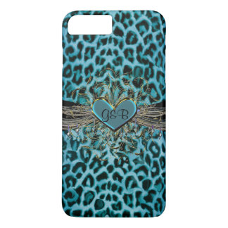 Turquoise Leopard and Heart Monogram iPhone 7 Case