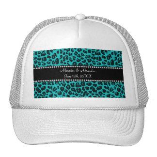 Turquoise leopard pattern wedding favors trucker hat