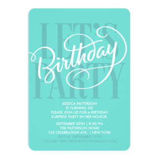 TURQUOISE LET'S BIRTHDAY PARTY | INVITATION