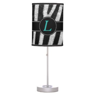 Turquoise Letter Monogram With Zebra Design Table Lamp