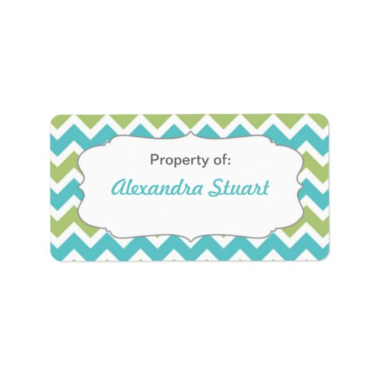 Turquoise & Lime Chevron Property of School ID