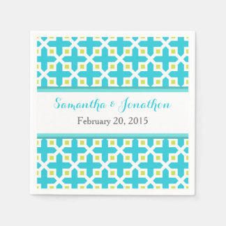 Turquoise & Lime Green Cross Pattern Wedding Paper Napkins