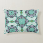 Turquoise Lime Green Purple Hip Ornate Art Motif Decorative Pillow
