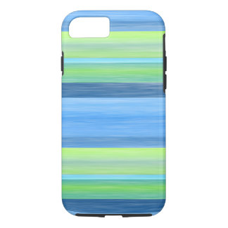 Turquoise Lime Green Watercolor Stripes Pattern iPhone 8/7 Case
