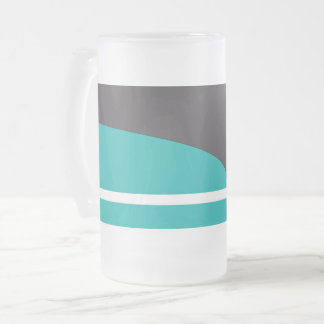 Turquoise Line Frosted Glass Beer Mug