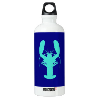 Turquoise Lobster On Navy Blue Coastal Decor